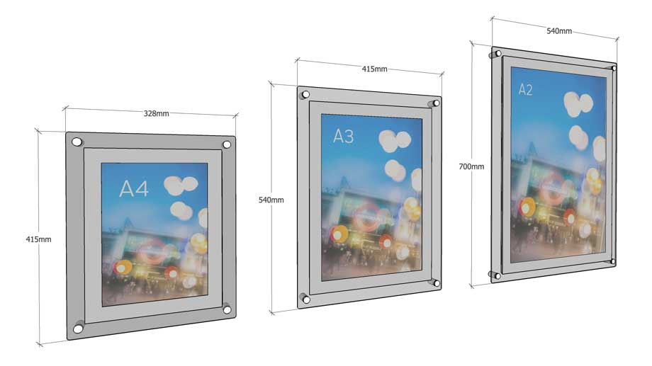A1 Poster Frame , A2 Poster Frame , A3 Poster Frame , A4 Poster Frame wall poster sizes guide, visual diagram showing acrylic poster holder sizes