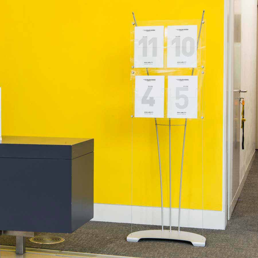 A4 literature display stand in office foyer