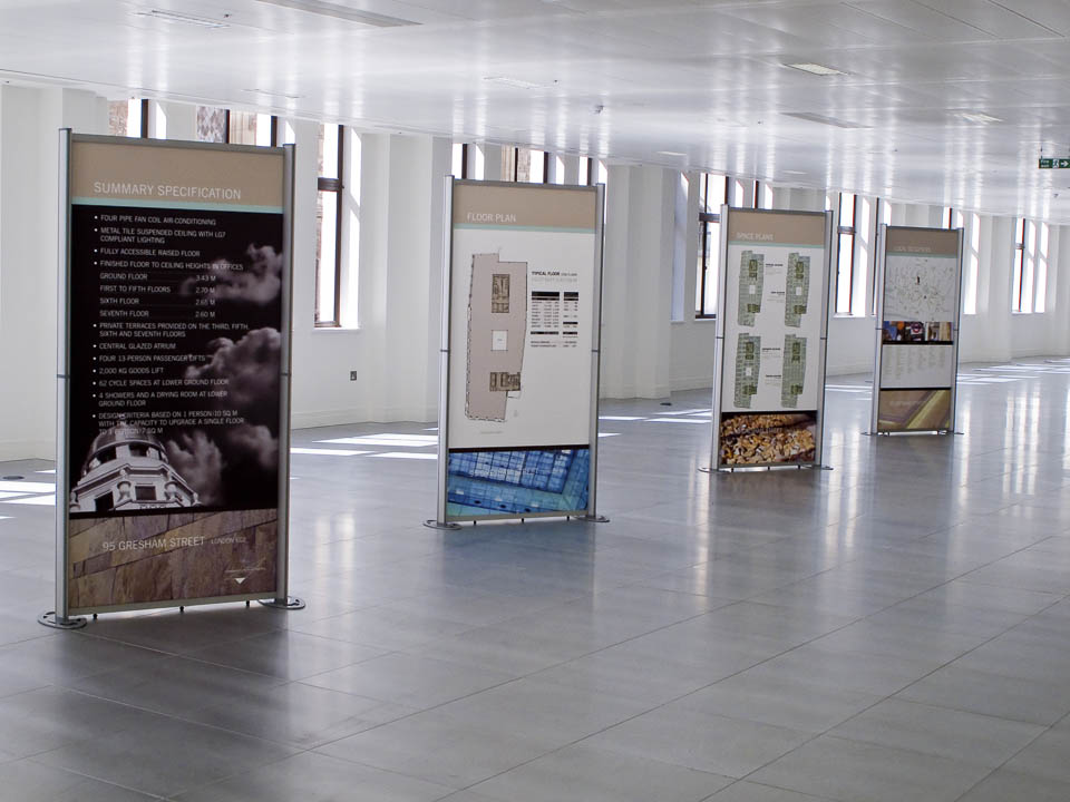 Commercial office space marketing displays