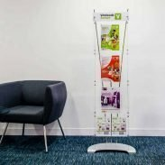 branded A4 leaflet display stand in office reception
