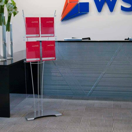 A4 brochure display stand in office reception