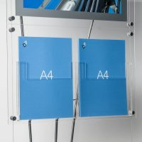 Close up image of clear acrylic A4 brochure pocket on D3 Display stand
