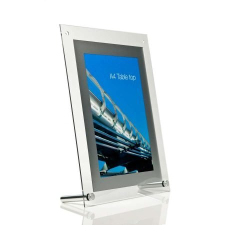 A4 poster holder with silver frame for use on table tops