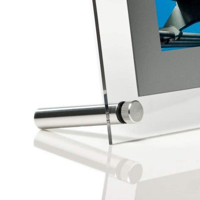Close up image of the aluminium foot used in table top poster displays