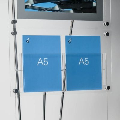Clear acrylic A5 leaflet display pockets on floor standing display system, A5 Double Brochure Pocket