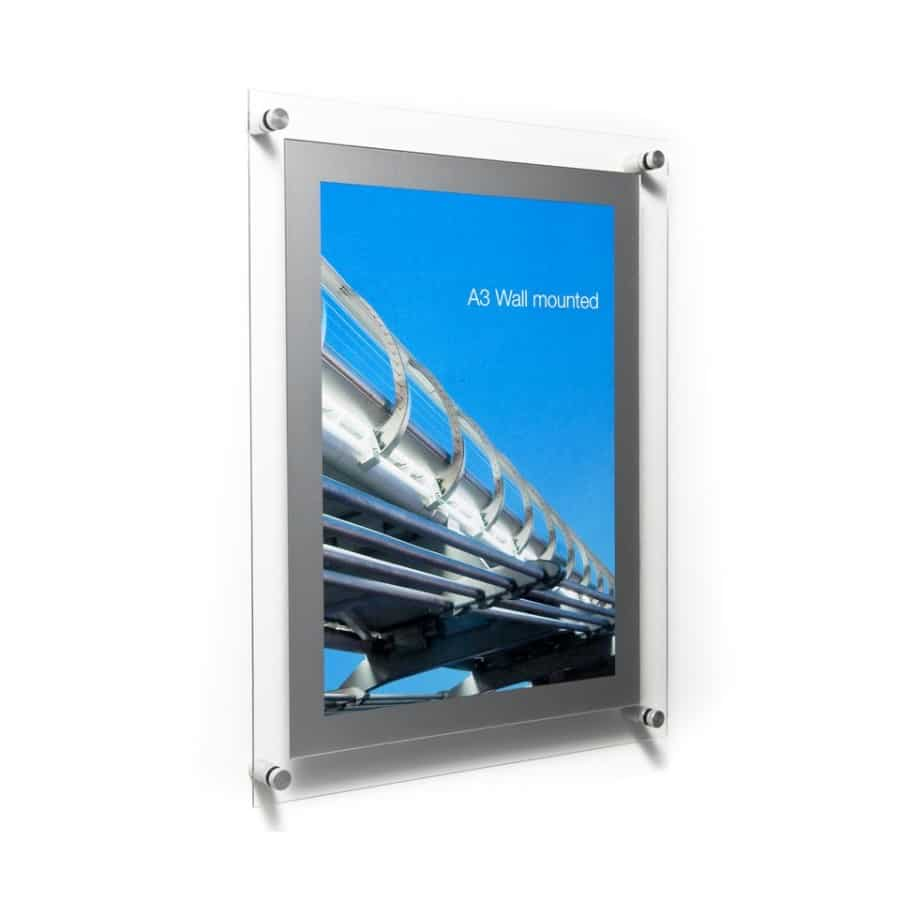clear acrylic a3 poster holder with silver frame wall fixed with a magnetic quick change system