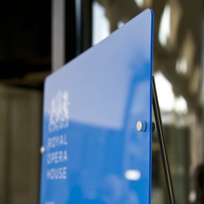 Detail image of floor standing acrylic sign graphic panel for Royal Opera House, London.