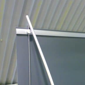 Image showing back of A1 post banner with header supports and cable fixings