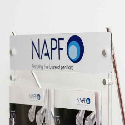 Brand your literature or brochure display stand with a printed graphic with your logo