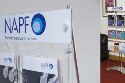 A4 and A5 brochure display with branded header panel for company reception area.