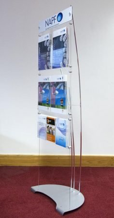 Display A4 and A5 brochure holders on a branded display system