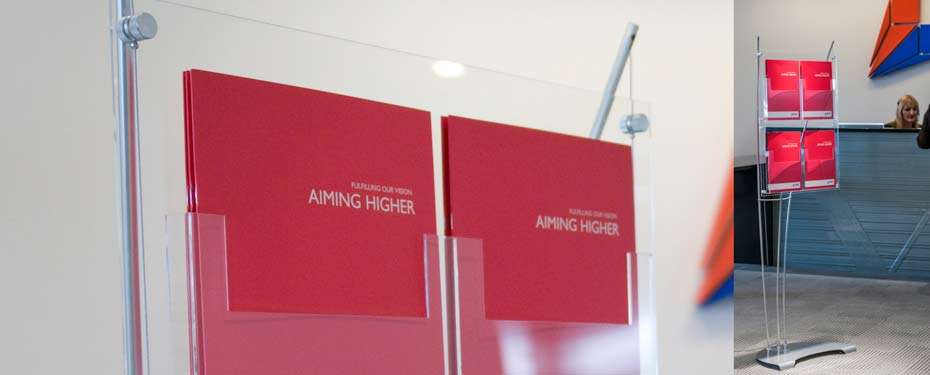 A4 leaflet display stands for corporate reception area