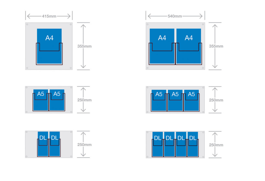 Diagram showing DL leaflet holders sizes