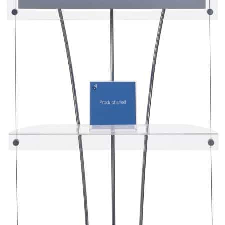Small product shelf for use on poster, light box and brochure display systems