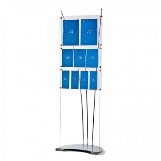literature display stand with A4, A5, DL acrylic pockets