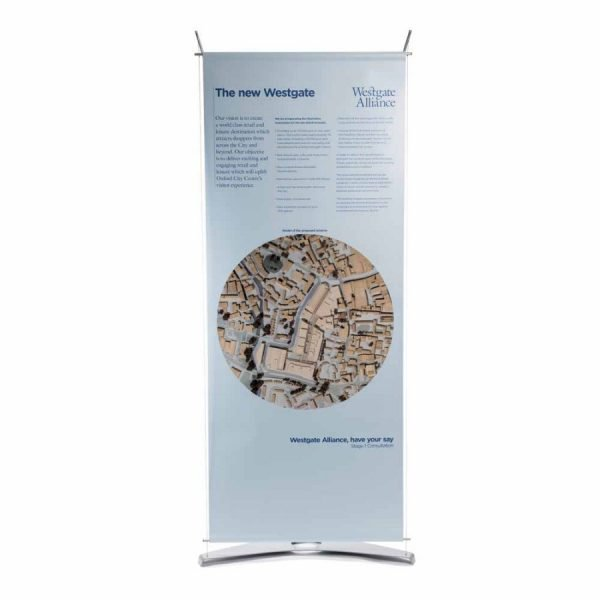 80cm wide tension banner stand with opaque opaljet graphic for temporary exhibition