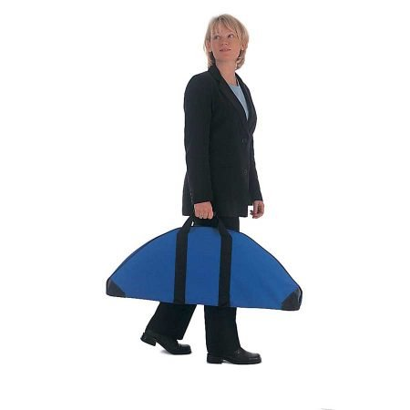 Woman carrying banner stand in travel bag