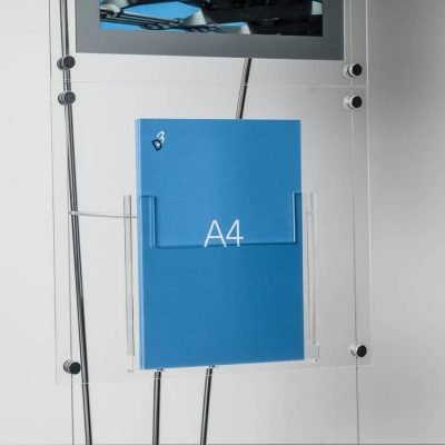 A4 acrylic brochure pocket on D3 brochure display stand