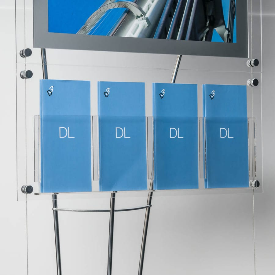 DL sized literature display holders on floor standing display system, DL Quad Brochure Pocket