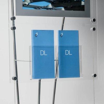 Clear acrylic DL leaflet pocket on floor standing D3 Display system, DL Double Brochure Pocket