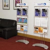 A5 and A4 leaflet display system with printed header panels
