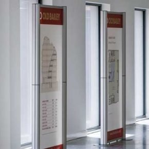 Modular exhibition system with printed acrylic panels for promoting prestigious office development on Old Bailey, London.