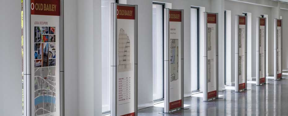1m modular acrylic graphic panels for commercial property marketing