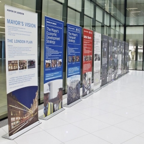 Series of roller banner stands beign used for launch event at Crown Estate Quadrant building