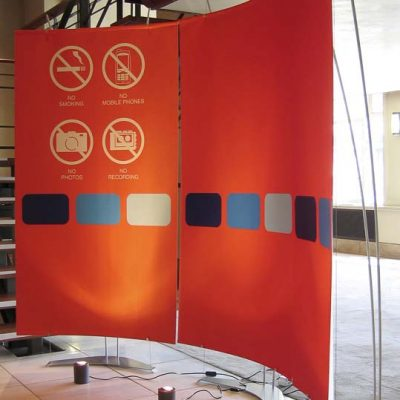 Portable pop up reception desk signage for AGM meeting