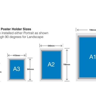 Diagram showing the overall sizes of Dimensions poster holders displays