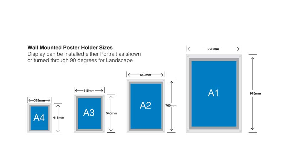 acrylic poster frames overall sizes of Dimensions poster holders displays