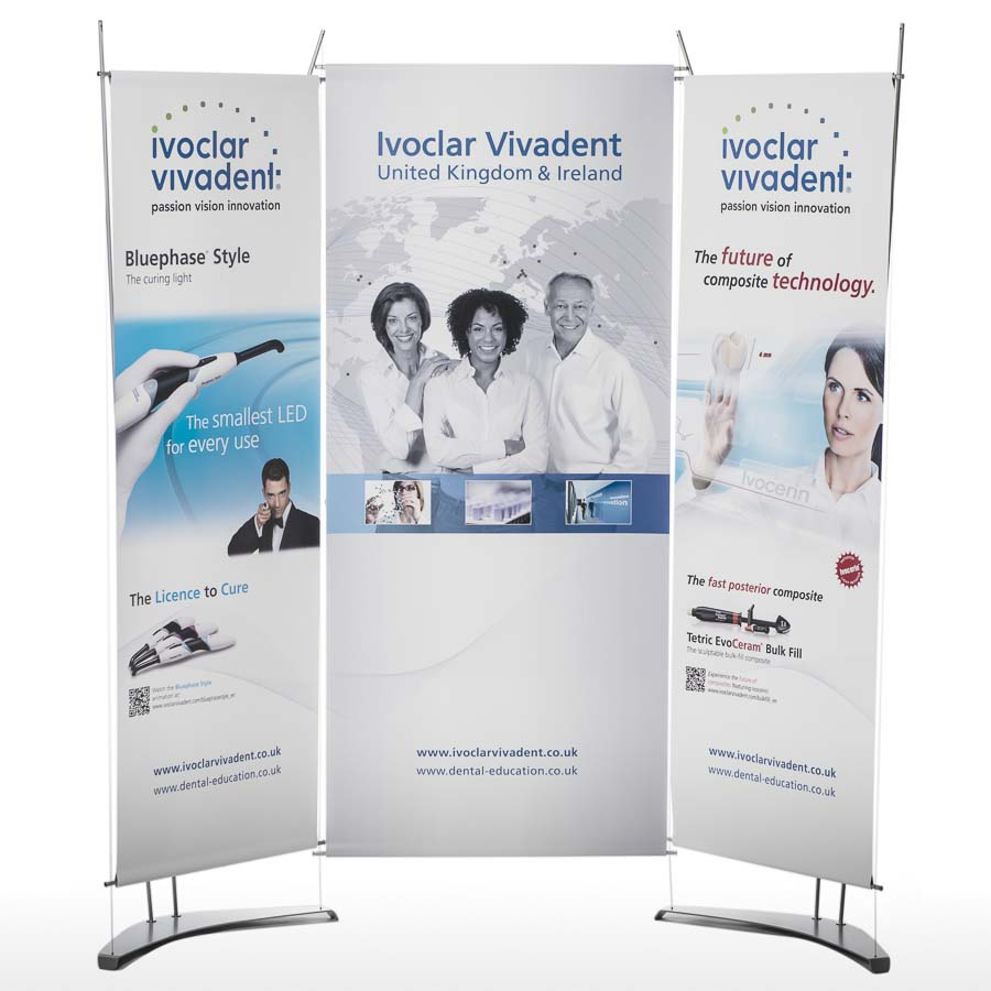 Linking Banner Stands, triptych banner stand display, exhibition display system