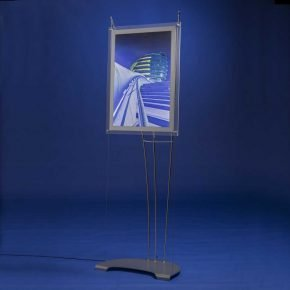 A2 portrait LED light box on floor standing portable display system