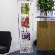 Floor standing A4 brochure display stand for office reception area.