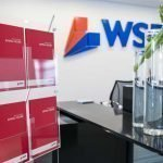 A4 brochure display stand in corporate reception area
