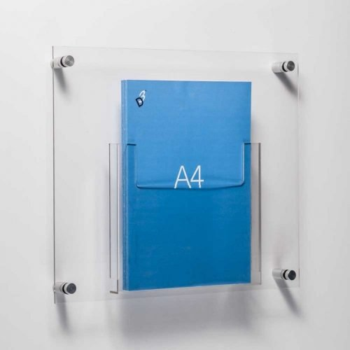A4 brochure holder fixed to wall with stand off fixings