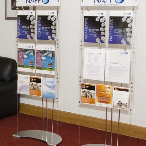 Floor standing A5 leaflet holders with custom printed graphics