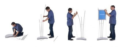 Four stages to assemble a floor standing D3 light box display system