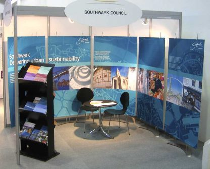 Tension fabric banner displays for exhibition stand