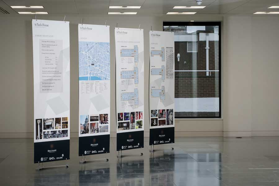 Stylish banner stands for property marketing