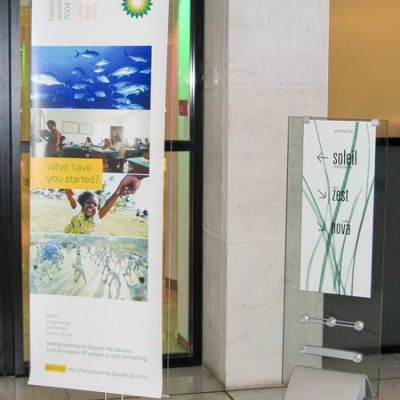 60cm banner stand used ofr signage in BP reception area