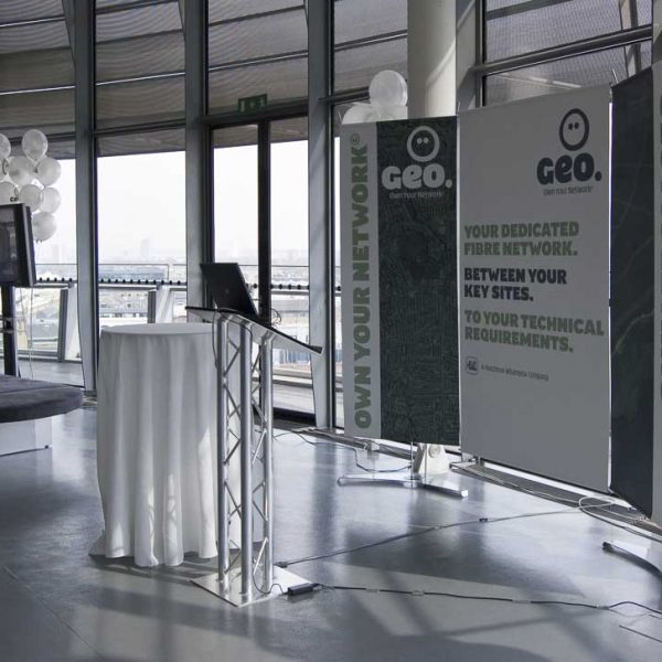 Backdrop banner stand displays being used for launch presentation at London Mayors office.