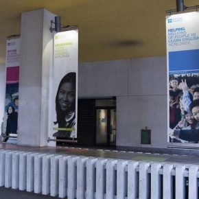 Double side vinyl banners for British Council Head office entrance London