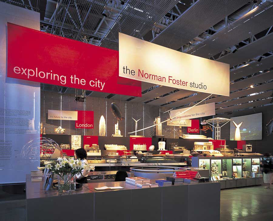 Ceiling suspended hanging banners for exhibition of Norman Foster's work