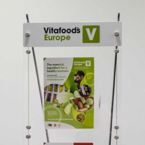 Custom printed branded graphic for brochure display system