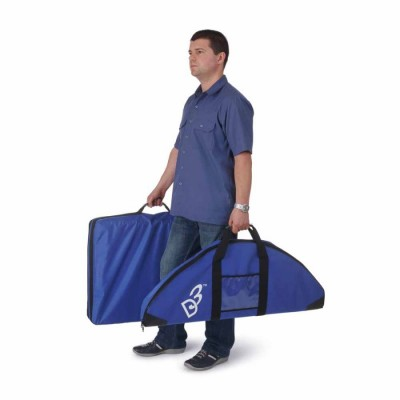 Person carrying D3 Display system in travel bags