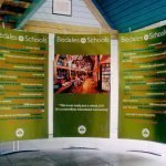 Floor standing pop up fabric banner displays for exhibitions