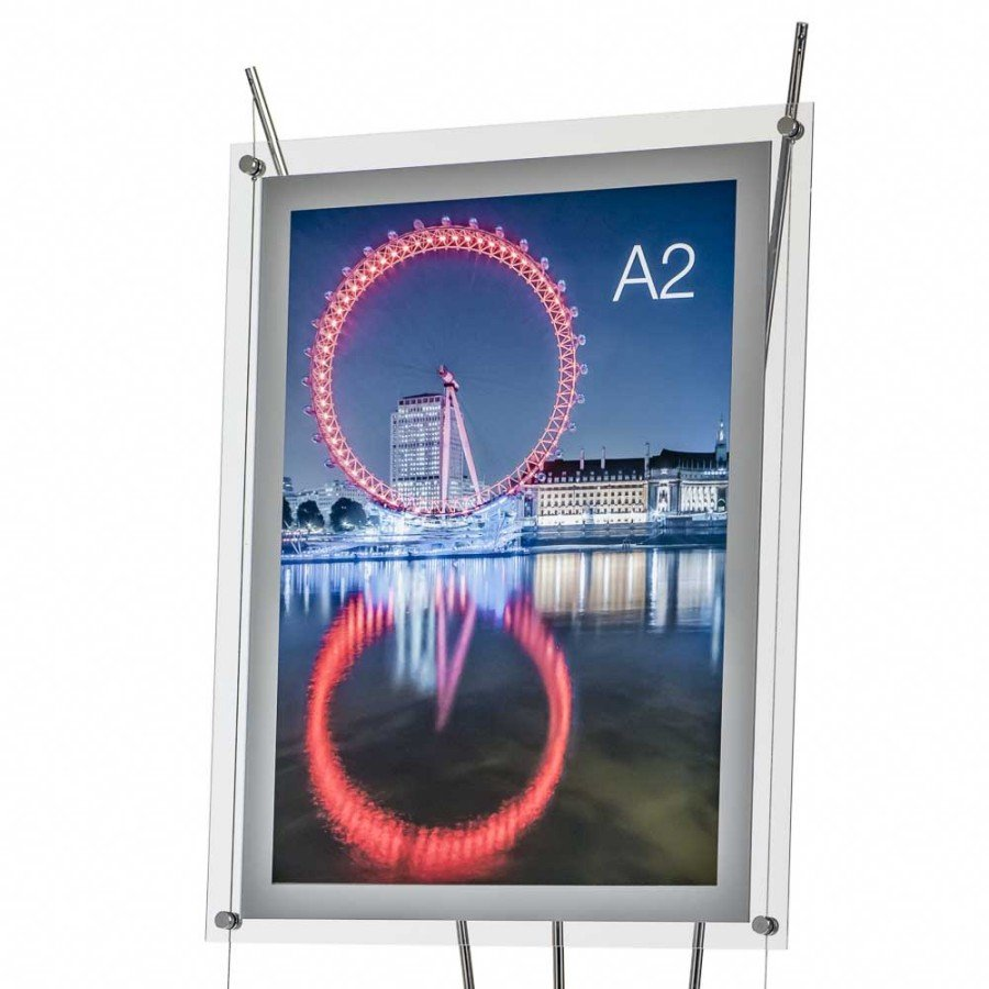 Image showing an A2 poster stand attached to a D3 Display stand