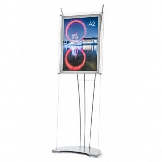 Perspex A2 poster display holder on 165cm high floor standing display unit