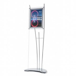 Floor standing A3 poster display stand on tension cable system